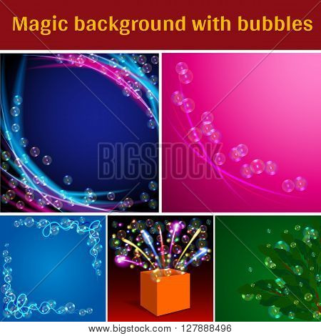 Transparent Soap Bubbles on Magic Backdrop Set. Colored Wave. Magic Box with Firework. Green Leaves with Bubbles. Blue, Pink, Dark Blue Background with Soap Bubbles. Vector Illustration.