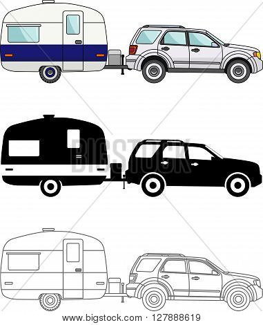 Modern caravan. Detailed illustration of car and travel trailers isolated on white background in a flat style.