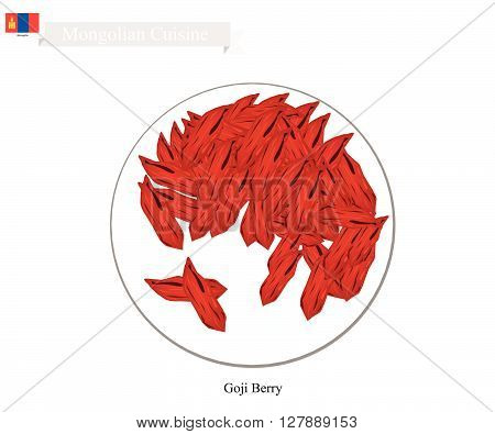 Mongolia Fruit Illustration of Dried Goji Berry. One of The Most Popular Fruits of Mongolia.