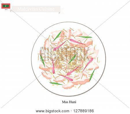 Maldivian Cuisine Illustration of Mas Huni or Traditional Shredded Coconut with Tuna Onions and Chili. One of The Most Popular Dish in Maldives.