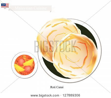 Malaysian Cuisine Illustration of Roti Canai or Traditional Crispy Flat Bread Served with Curry Sauce. One of Most Popular Dish in Malaysia.