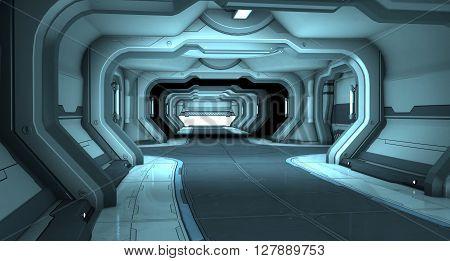 Sci-Fi corridor interior design blue. 3d illustration