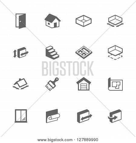 Simple Set of Building House Related Vector Icons. Contains Such Icons as Room Size, Basement, House, Wallpaper and More.