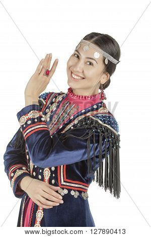 Studio photo girl with east face, in the Bashkir national costume, a nation living on the territory of Russia, on a white background