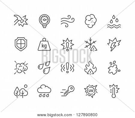 Simple Set of Influence Related Vector Line Icons. Contains such Icons as Water Resistance, Heat, Dust, Impact, Scratch, UV rays, Waterproof, Shockproof and more. Editable Stroke. 48x48 Pixel Perfect.