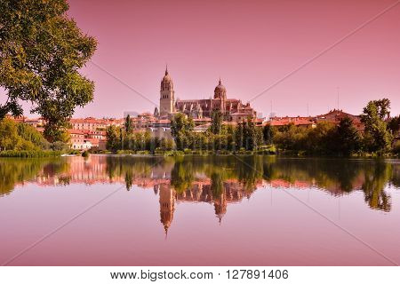Beautiful Landscape With Famous Salamanca Cathedral In Spain