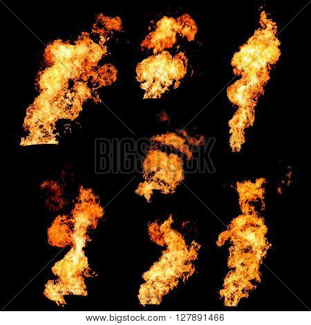Raging fire tongues and spurts of flame texture photo set isolated on black background