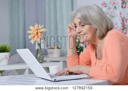 Portrait of a happy elderly with laptop at home