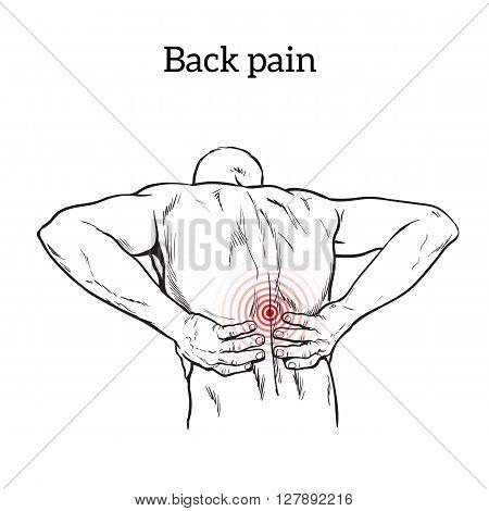 Lumbar pain in a man back pain in a human vector outline sketch, black and white illustration with concept of disease back, violation of waist, lumbar vertebrae and intervertebral discs