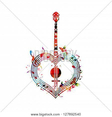 Vector illustration of colorful heart-shaped banjo design