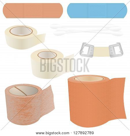 A collection of 8 vector illustrations of bandage items, commonly found in First Aid Kits, including Bandages, Plasters, Cotton Swabs, Medical Gauze and a Bandage Clip.