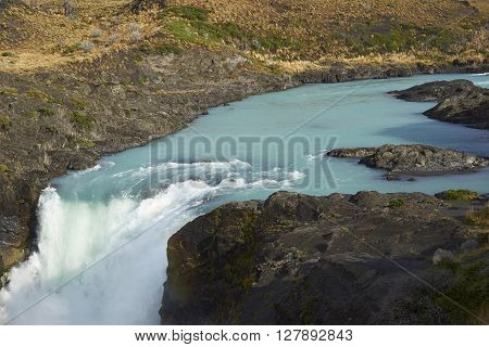 Salto Grande. Waterfall connecting Lago Nordenskjoldin and Lago Pehoe in Torres del Paine National Park, Magallanes, Chile