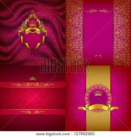 Set of luxury ornate backgrounds in vintage style. Elegant frame with floral elements, filigree ornament, gold crown, shield, ribbons, place for text on red drapery fabric. Vector illustration EPS10