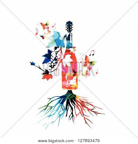 Vector illustration of colorful winebottle with vines