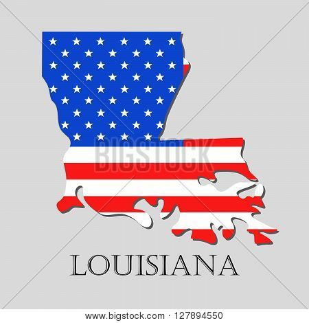 Map of the State of Louisiana and American flag illustration. America Flag map - vector illustration.