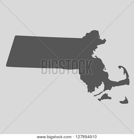 Black map of the State of Massachusetts - vector illustration. Simple flat map State of Massachusetts.