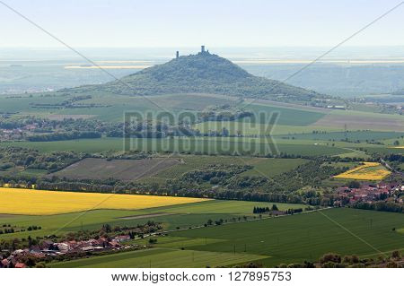 View of the ruins of Hazmburk from the top of the hill Kostalov Czech republic.