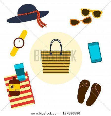 Beach bag. Vector illustration. Beach bag with beach accessories. Striped big beach bag. Flat design