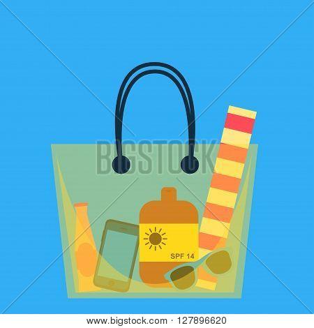 Beach bag. Vector illustration. Beach bag with beach accessories. Yellow big beach bag. Flat design