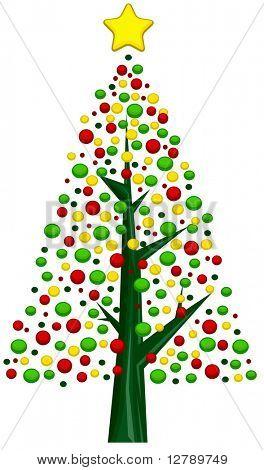 Christmas Tree Design Featuring an Assortment of Christmas Balls