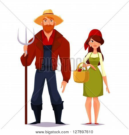 Farmer couple of spouses, vector cartoon isolated on a white background illustration of a man wearing a straw hat and a pitchfork, red shirt, a girl in scarf and basket assembly vegetables