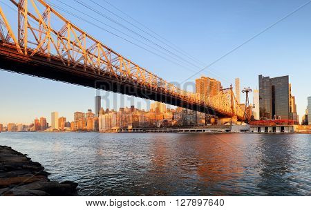 Queensboro bridge - Uptown New York City at sunrise.