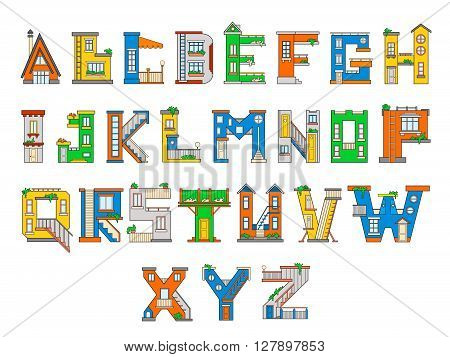 Illustration house letter alphabet. Larning the alphabet and literally in kindergarten. Letter isolated.