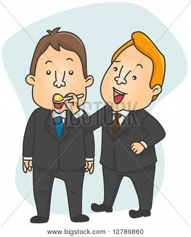 Illustration of a Businessman Spoon Feeding an Employee