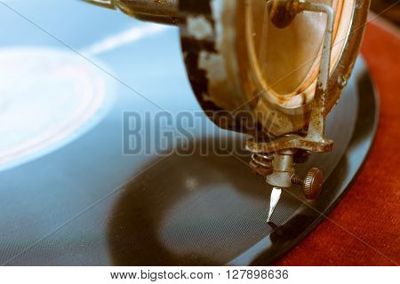 Old Rusty Gramophone Playing Song From Vinyl