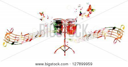 Vector illustration of colorful drums with music notes