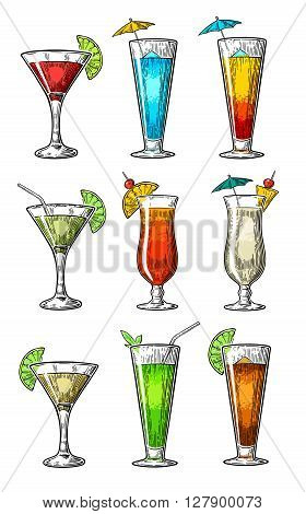 Alcohol cocktail set - margarita sex on the beach pina colada daiquiri mojito cuba libre cosmopolitan blue lagoon tequila sunrise. Vintage vector engraving poster menu for summer beach party