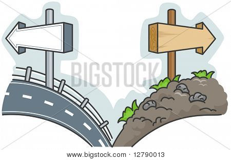 Illustration Offering a Choice Between a Smooth Road and a Rough One