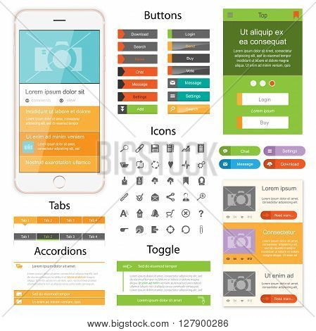 Web design elements for website or app. Collection of icons, buttons with tabs and toogles for website. Design for application.