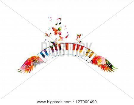 Vector illustration of colorful piano keyboards with wings