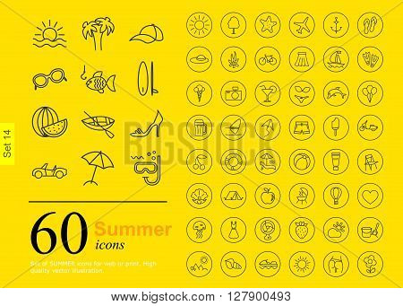 Set of summer icons for web or services. 60 design line icons high quality, vector illustration.