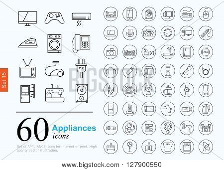 Set of household appliances icons for web or services. 60 design line icons high quality, vector illustration.