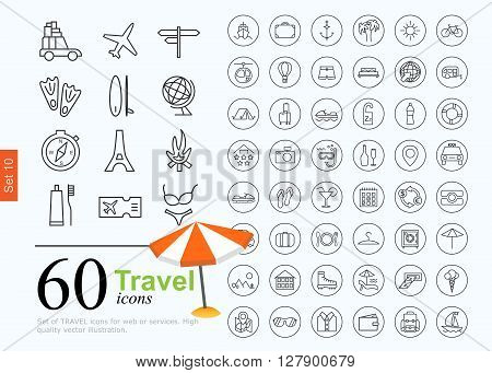 Vacation icon set for web or services. 60 design line travel icons high quality, vector illustration.