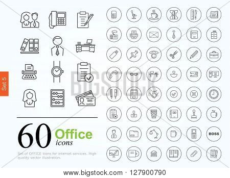 Set of office icons for web or services. 60 line icons high quality, vector illustration.