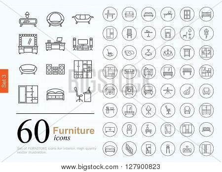 Set of furniture icons for interior. 60 line icons high quality, vector illustration.