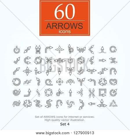 Set of arrow icons for website or internet services. 60 design line icons high quality, vector illustration.