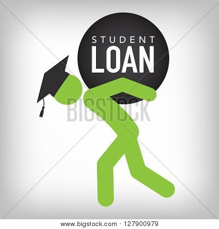 2016 Graduate Student Loan Icons - Crippling Student Loan Graphics for Education Financial Aid or Assistance, Government Loans, and Debt poster