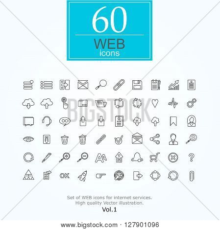 Set of web icons for internet services. 60 line icons high quality, vector illustration.