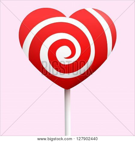 Candy heart with red and white colors isolated on pink background. Good mood with love