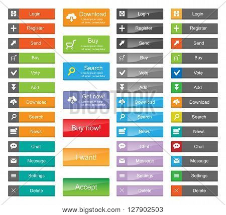 Flat Web Design elements - set of color buttons with icons.
