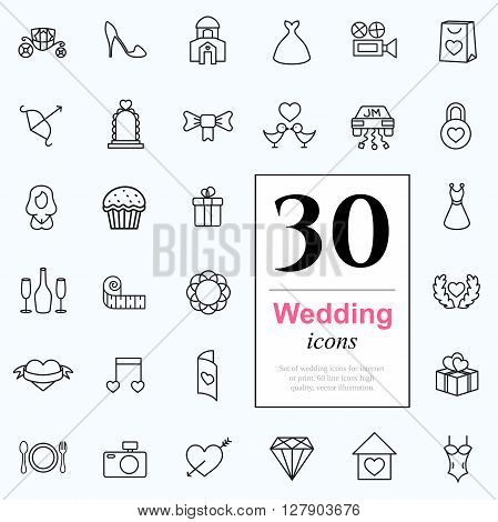 Set of wedding icons for web or services. 30 design honeymoon line icons high quality, vector illustration.