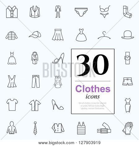 Set of clothes icons for web or services. 30 design line icons high quality, vector illustration.