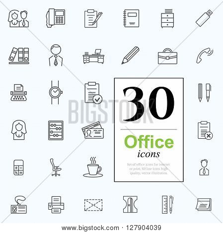Set of office icons for web or services. 30 line icons high quality, vector illustration.