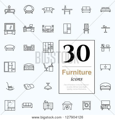 Set of furniture icons for interior. 30 line icons high quality, vector illustration.