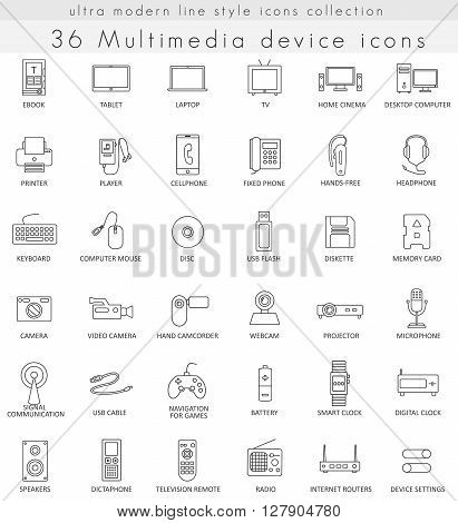 Vector Multimedia Devices ultra modern outline line icons for web and apps