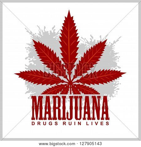 Cannabis - marijuana leaf on grunge background. Vector for prints and tshirts